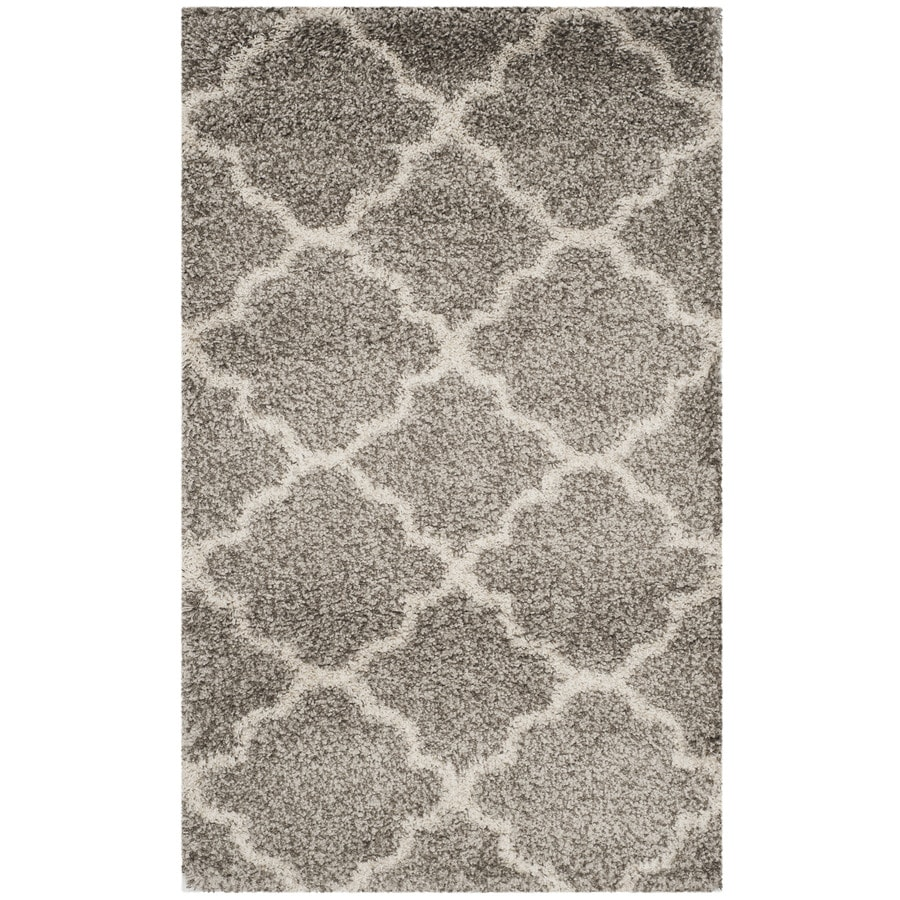 Safavieh Hudson Shag Gray/Ivory Rectangular Indoor Machine-Made Moroccan Area Rug (Common: 4 x 6; Actual: 4-ft W x 6-ft L)