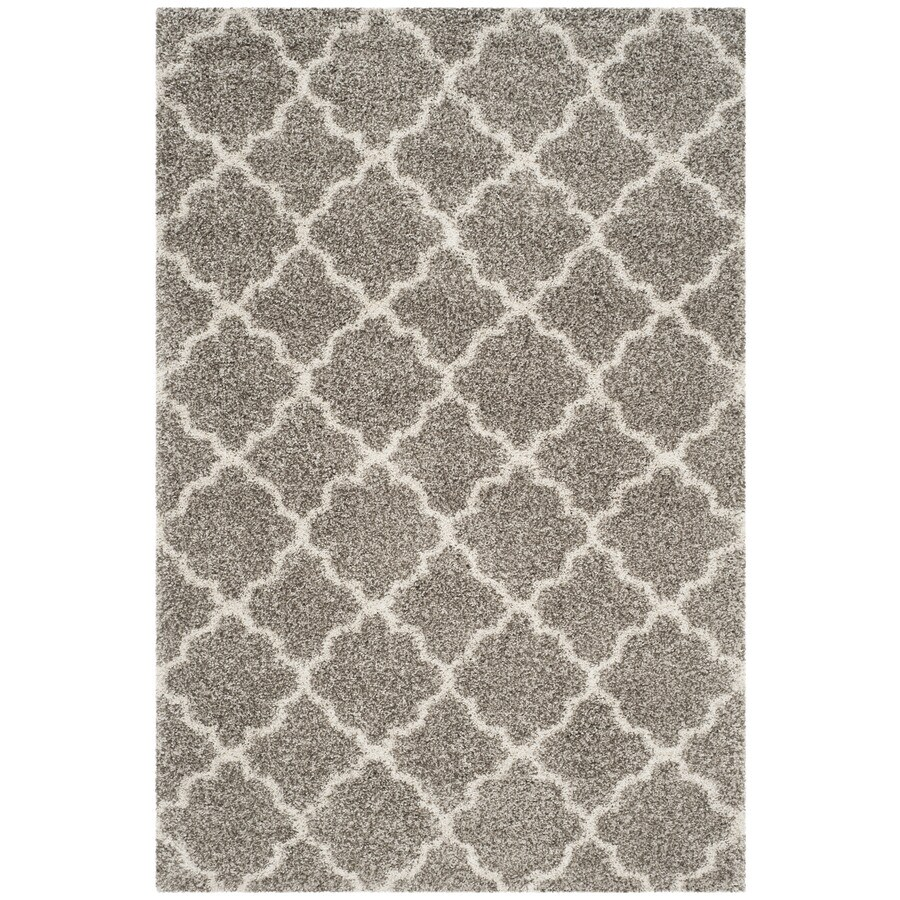 Safavieh Hudson Theron Shag Gray/Ivory Indoor Moroccan Area Rug (Common: 5 x 8; Actual: 5.1-ft W x 7.5-ft L)