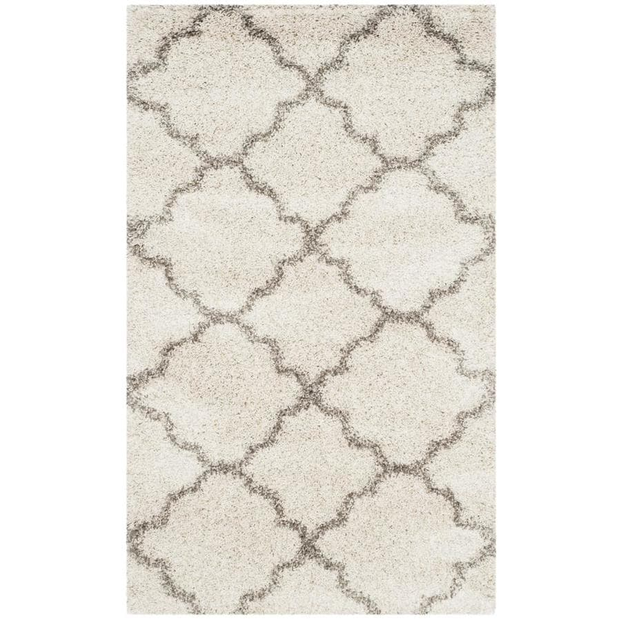Safavieh Hudson Theron Shag Ivory/Gray Rectangular Indoor Machine-made Moroccan Area Rug (Common: 4 x 6; Actual: 4-ft W x 6-ft L)