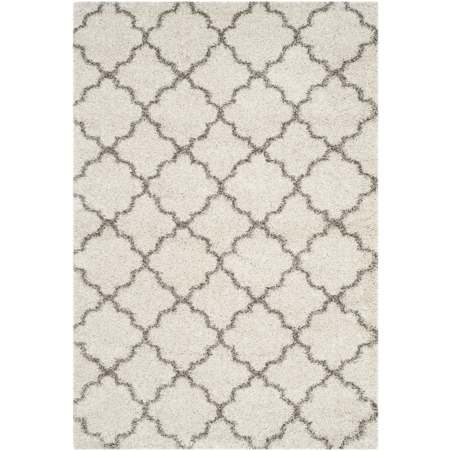 Safavieh Hudson Theron Shag Ivory/Gray Rectangular Indoor Machine-made Moroccan Area Rug (Common: 5 x 7; Actual: 5.1-ft W x 7.5-ft L)