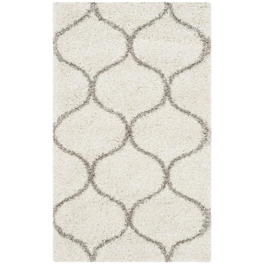 Safavieh Hudson Hathaway Shag Ivory/Gray Indoor Moroccan Throw Rug (Common: 3 x 5; Actual: 3-ft W x 5-ft L)