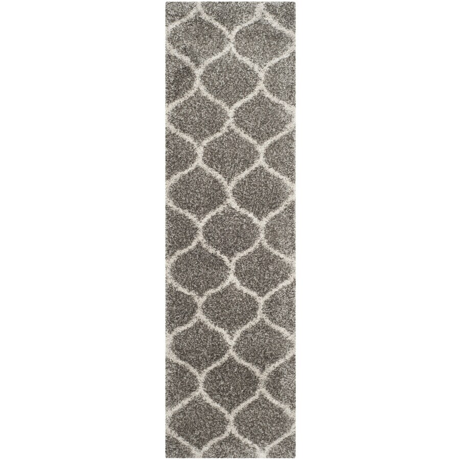 Safavieh Hudson Shag Gray/Ivory Rectangular Indoor Machine-Made Moroccan Runner (Common: 2 x 8; Actual: 2.25-ft W x 8-ft L)