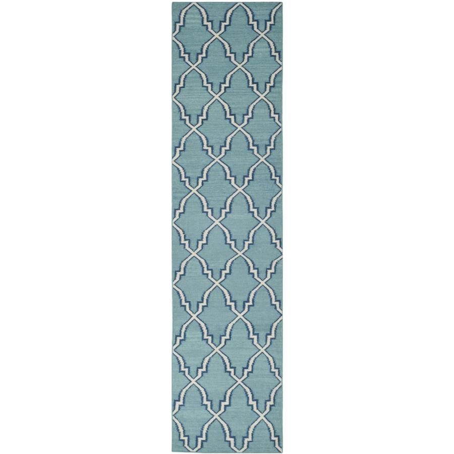 Safavieh Dhurries Light Blue/Ivory Rectangular Indoor Handcrafted Southwestern Runner (Common: 2.3 x 10; Actual: 2.5-ft W x 10-ft L)