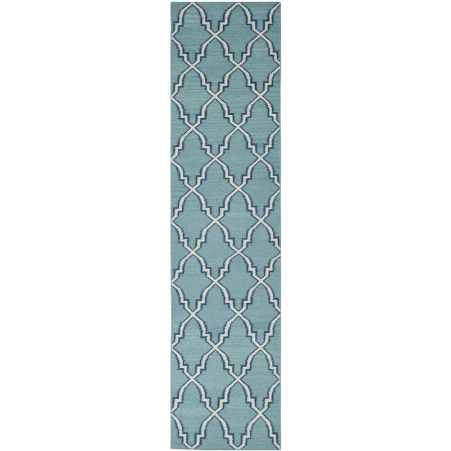 Safavieh Dhurries Redivy Light Blue/Ivory Indoor Handcrafted Southwestern Runner (Common: 2 x 6; Actual: 2.5-ft W x 6-ft L)