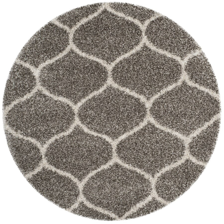 Safavieh Hudson Hathaway Shag Gray/Ivory Round Indoor Machine-made Moroccan Area Rug (Common: 7 x 7; Actual: 7-ft W x 7-ft L x 7-ft dia)