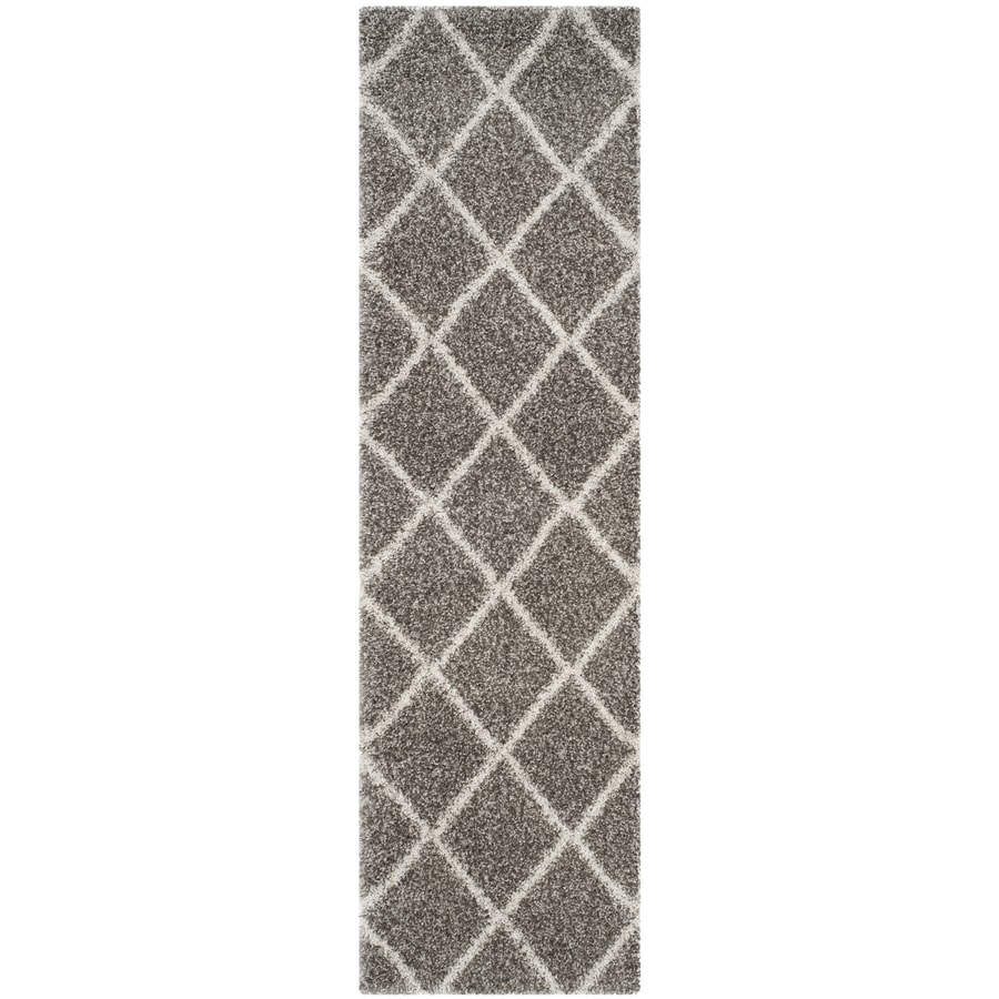 Safavieh Hudson Beckham Shag Gray/Ivory Rectangular Indoor Machine-made Moroccan Runner (Common: 2 x 8; Actual: 2.25-ft W x 8-ft L)