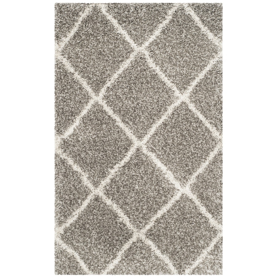 Safavieh Hudson Beckham Shag Gray/Ivory Indoor Moroccan Throw Rug (Common: 3 x 5; Actual: 3-ft W x 5-ft L)