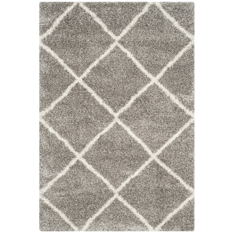Safavieh Hudson Beckham Shag Gray/Ivory Rectangular Indoor Machine-made Moroccan Area Rug (Common: 6 x 9; Actual: 6-ft W x 9-ft L)