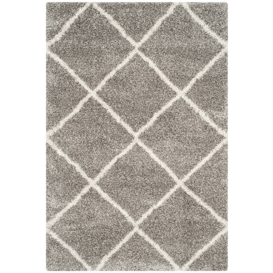 Safavieh Hudson Shag Gray/Ivory Rectangular Indoor Machine-Made Moroccan Area Rug (Common: 6 x 9; Actual: 6-ft W x 9-ft L)