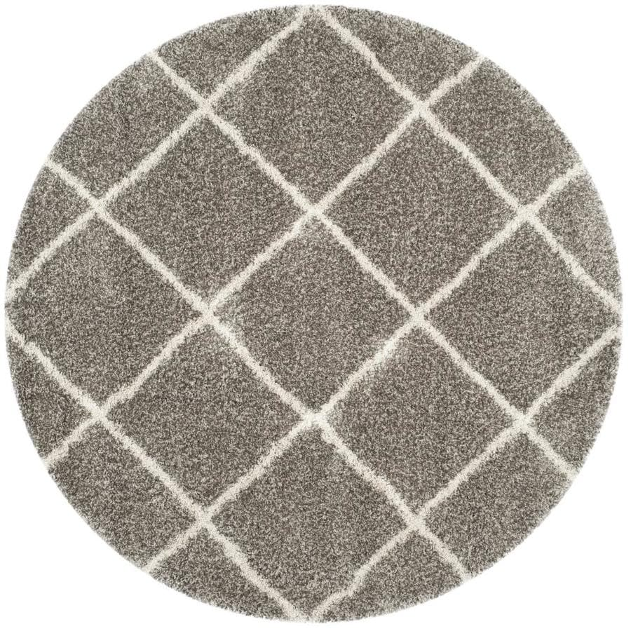 Safavieh Hudson Beckham Shag Gray/Ivory Round Indoor Machine-made Moroccan Area Rug (Common: 7 x 7; Actual: 7-ft W x 7-ft L x 7-ft dia)