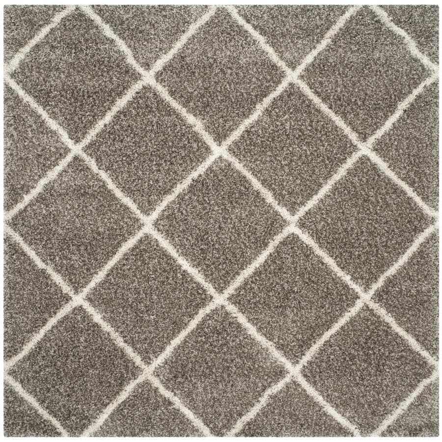 Safavieh Hudson Shag Gray/Ivory Square Indoor Machine-Made Moroccan Area Rug (Common: 7 x 7; Actual: 7-ft W x 7-ft L x 0-ft Dia)