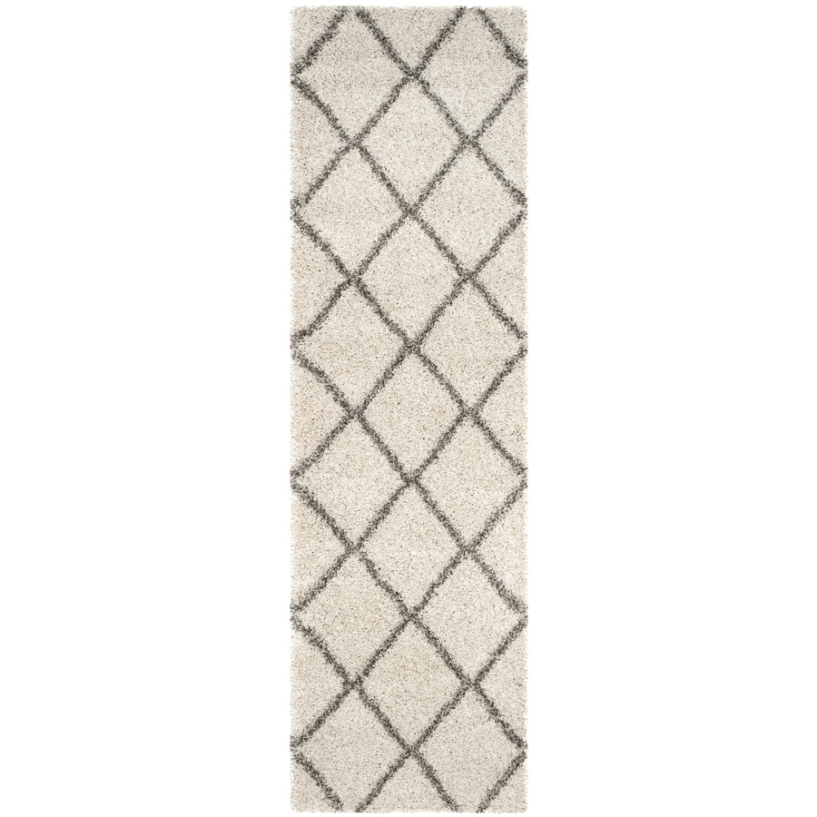 Safavieh Hudson Shag Ivory/Gray Rectangular Indoor Machine-Made Moroccan Runner (Common: 2 x 8; Actual: 2.25-ft W x 8-ft L x 0-ft Dia)