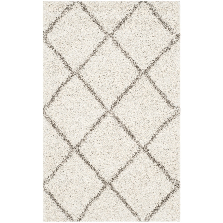 Safavieh Hudson Beckham Shag Ivory/Gray Indoor Moroccan Throw Rug (Common: 3 x 5; Actual: 3-ft W x 5-ft L)