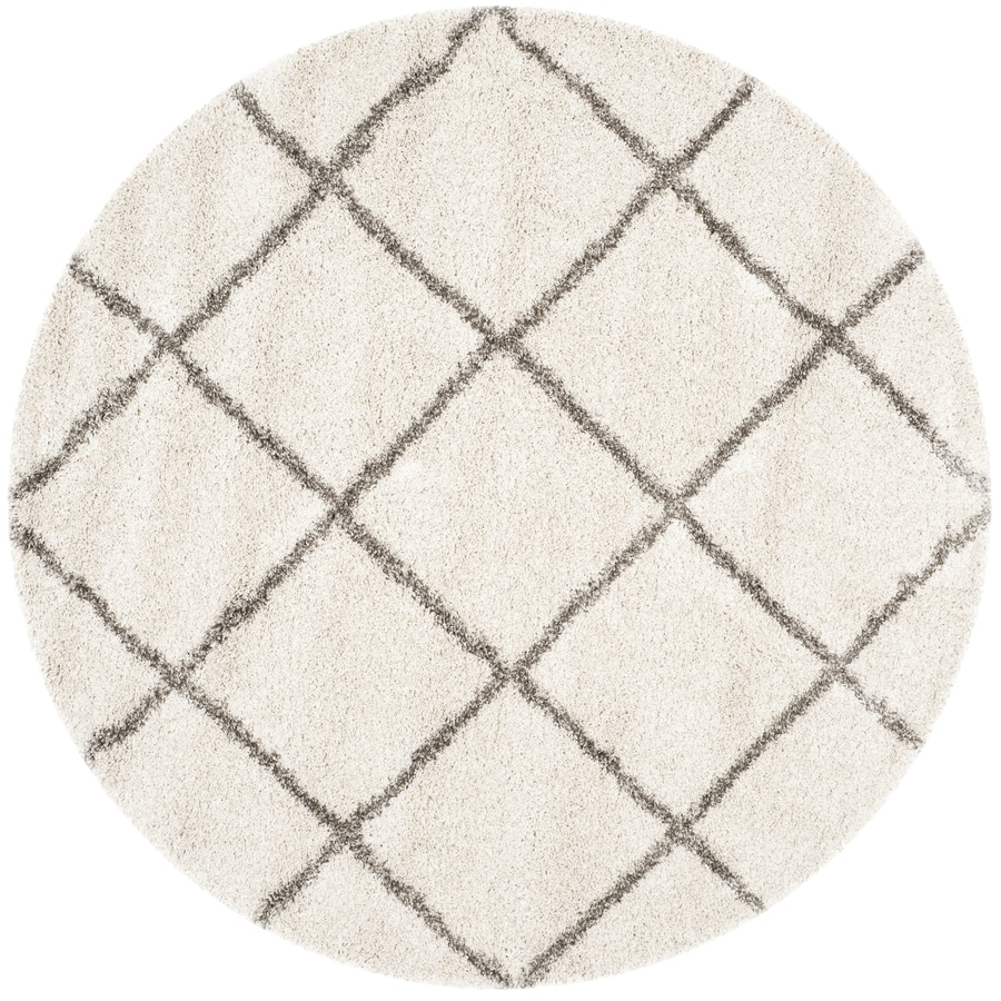 Safavieh Hudson Shag Ivory/Grey Round Indoor Machine-Made Area Rug (Actual: 7-ft dia)