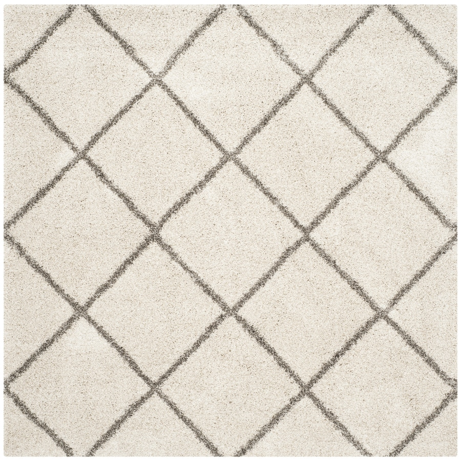 Safavieh Hudson Beckham Shag Ivory/Gray Square Indoor Machine-made Moroccan Area Rug (Common: 7 x 7; Actual: 7-ft W x 7-ft L)