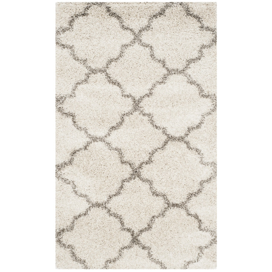 Safavieh Hudson Theron Shag Ivory/Gray Rectangular Indoor Machine-made Moroccan Throw Rug (Common: 3 x 5; Actual: 3-ft W x 5-ft L)