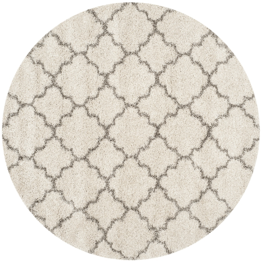 Safavieh Hudson Shag Ivory/Gray Round Indoor Machine-Made Moroccan Area Rug (Common: 7 x 7; Actual: 7-ft W x 7-ft L x 7-ft dia)
