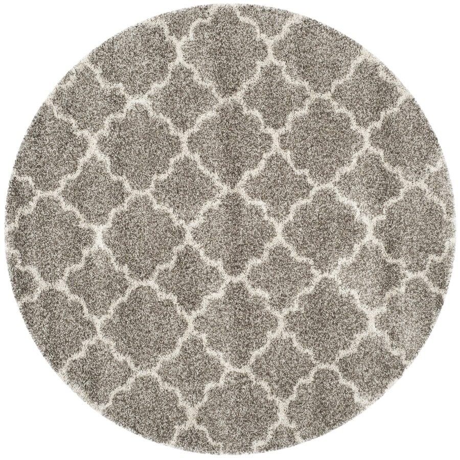 Safavieh Hudson Shag Grey/Ivory Round Indoor Machine-Made Area Rug (Actual: 7-ft dia)