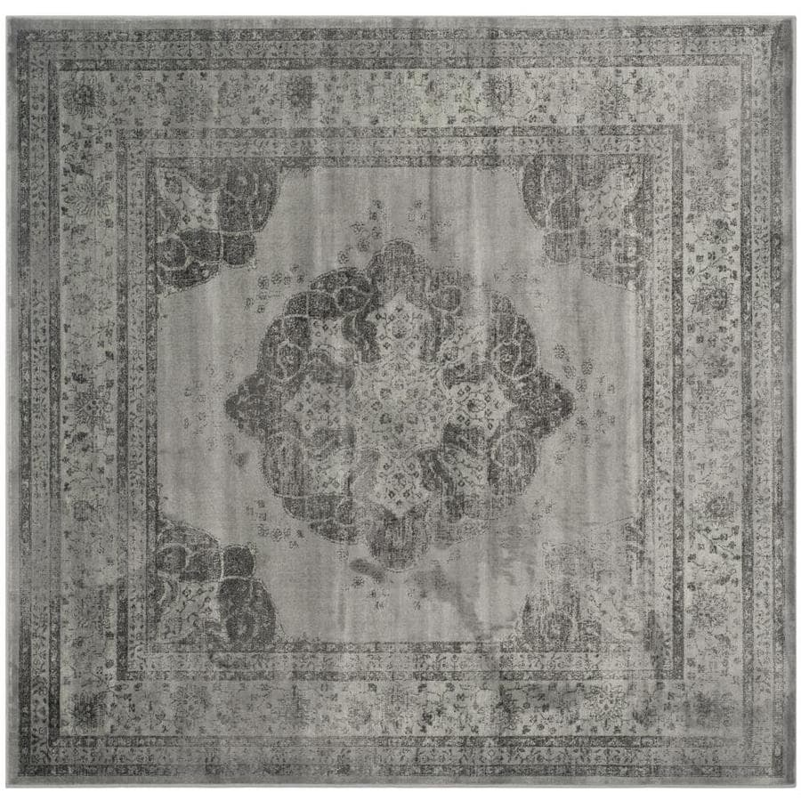 Safavieh Vintage Kerman Gray/Multi Square Indoor Machine-made Distressed Area Rug (Common: 8 x 8; Actual: 8-ft W x 8-ft L)