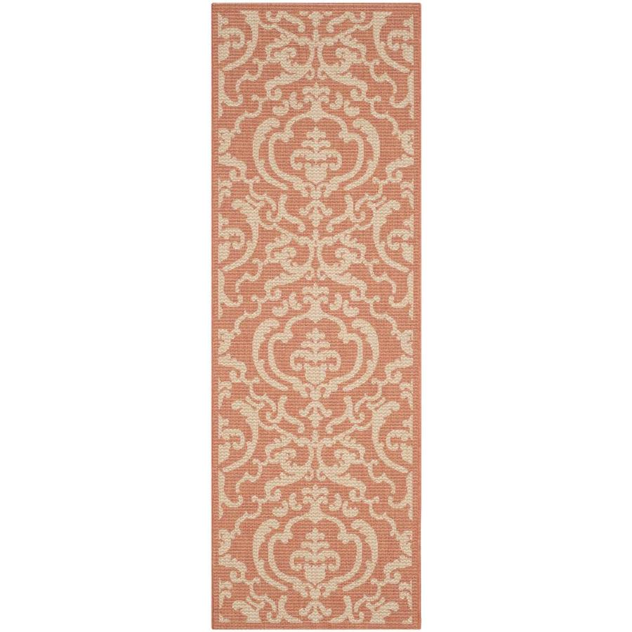 Safavieh Courtyard Damask Medallion Terracotta/Natural Rectangular Indoor/Outdoor Machine-Made Coastal Runner (Common: 2 x 6; Actual: 2.25-ft W x 6.58-ft L)