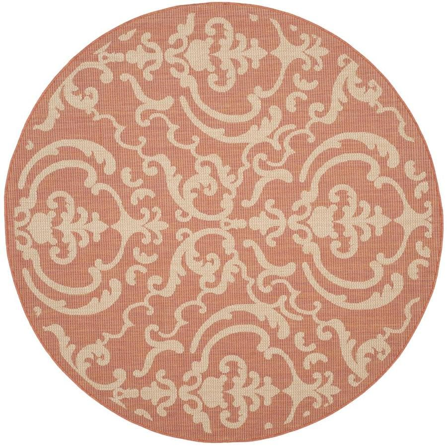 Safavieh Courtyard Terracotta/Natural Round Indoor/Outdoor Machine-Made Coastal Area Rug (Common: 6 x 6; Actual: 6.583-ft W x 6.583-ft L x 6.583-ft)