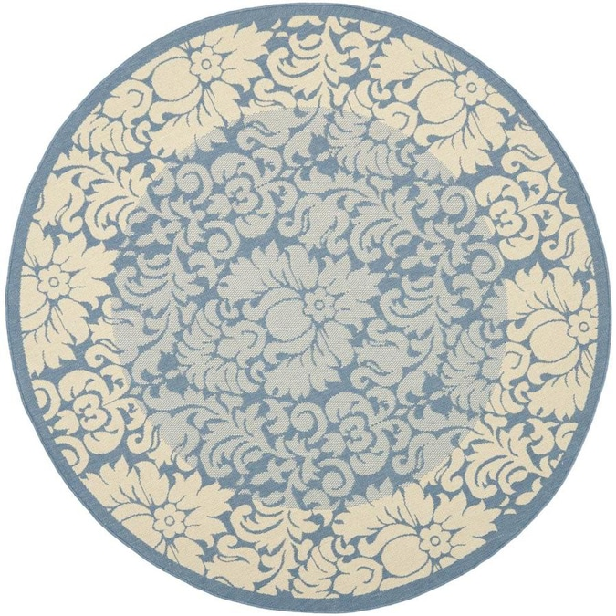 Safavieh Courtyard Nashua 5 X 5 Blue Natural Round Indoor Outdoor Damask Coastal Area Rug In The Rugs Department At Lowes Com