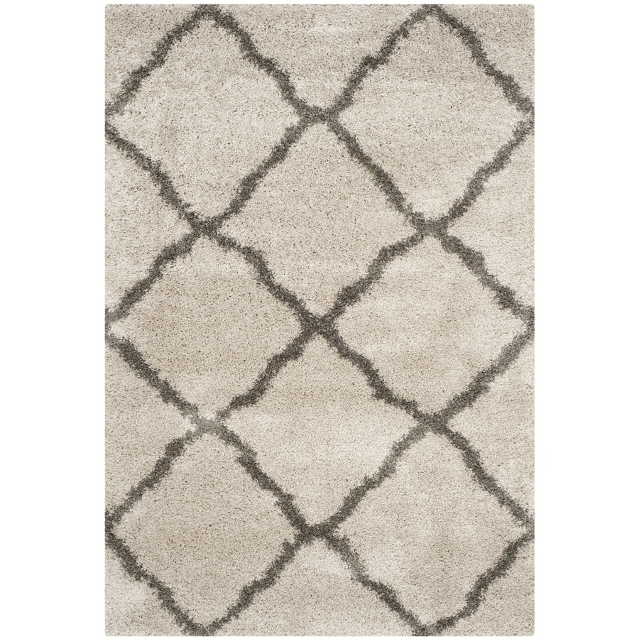 Safavieh Belize Denby Shag Taupe/Gray Indoor Moroccan Area Rug (Common: 5 x 8; Actual: 5.1-ft W x 7.5-ft L)