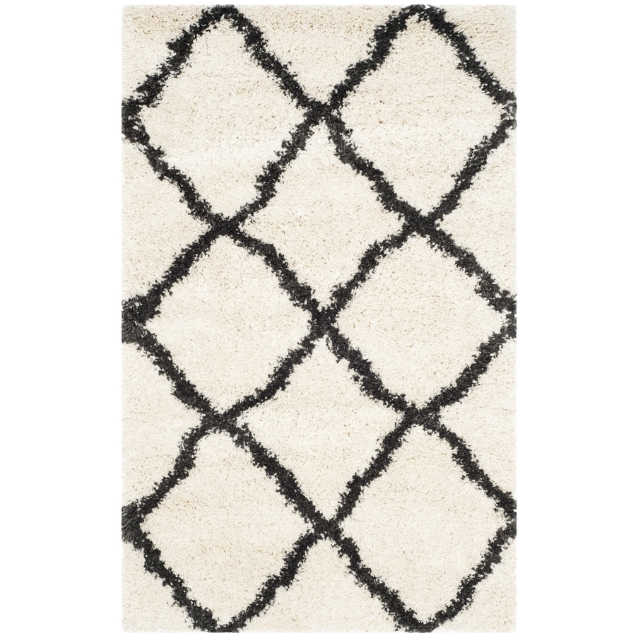 Safavieh Belize Denby Shag Ivory/Charcoal Rectangular Indoor Machine-made Moroccan Area Rug (Common: 4 x 6; Actual: 4-ft W x 6-ft L)