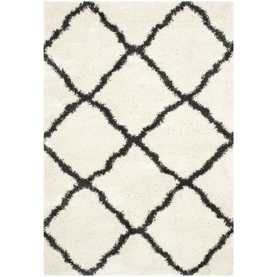 Safavieh Belize Denby Shag Ivory/Charcoal Rectangular Indoor Machine-made Moroccan Area Rug (Common: 5 x 7; Actual: 5.1-ft W x 7.5-ft L)