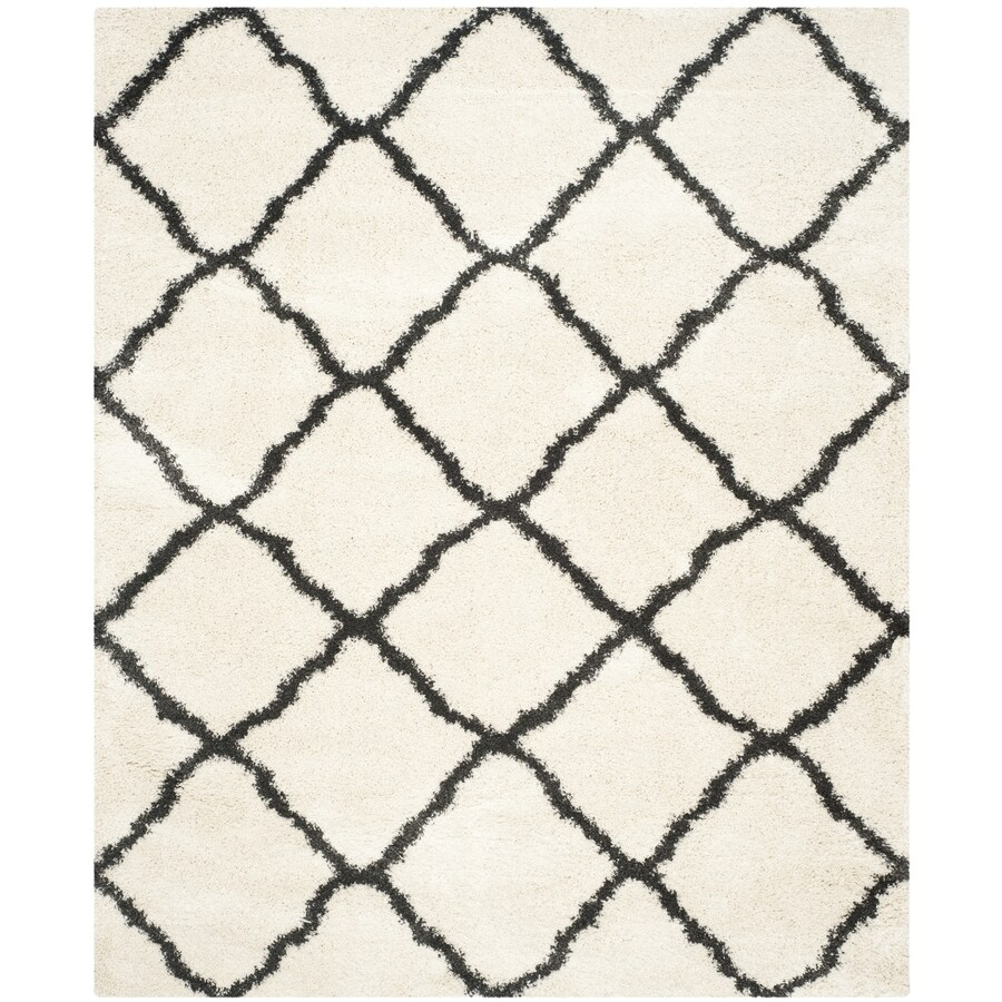 Safavieh Belize Denby Shag Ivory/Charcoal Indoor Moroccan Area Rug (Common: 8 x 10; Actual: 8-ft W x 10-ft L)