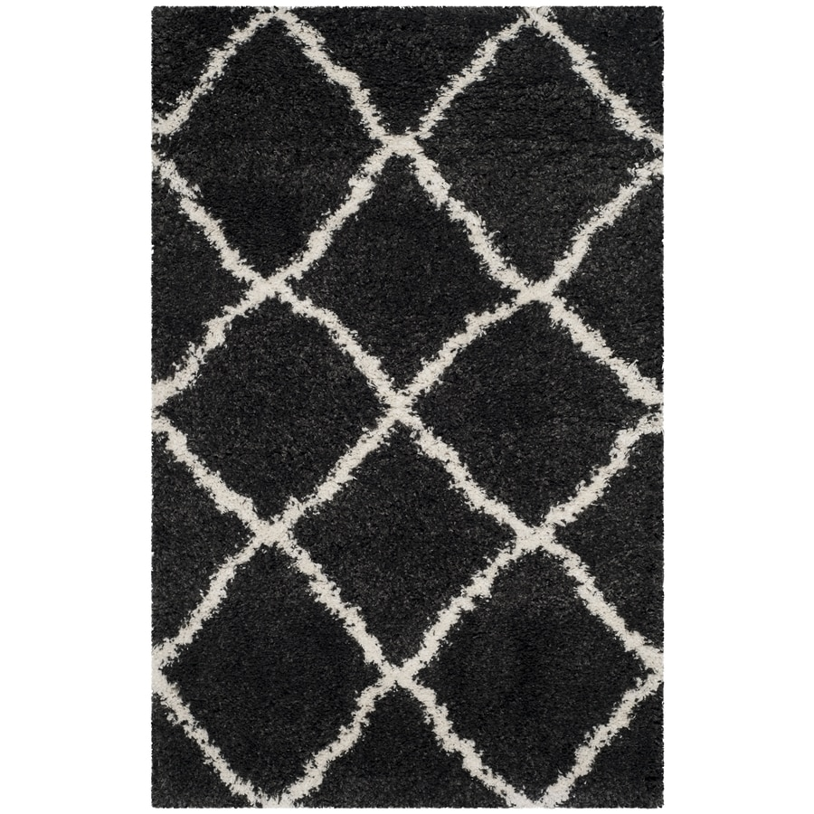 Safavieh Belize Denby Shag Charcoal/Ivory Indoor Moroccan Area Rug (Common: 4 x 6; Actual: 4-ft W x 6-ft L)