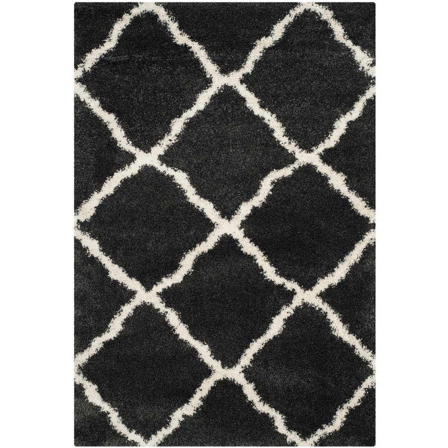 Safavieh Belize Denby Shag Charcoal/Ivory Rectangular Indoor Machine-made Moroccan Area Rug (Common: 5 x 7; Actual: 5.1-ft W x 7.5-ft L)