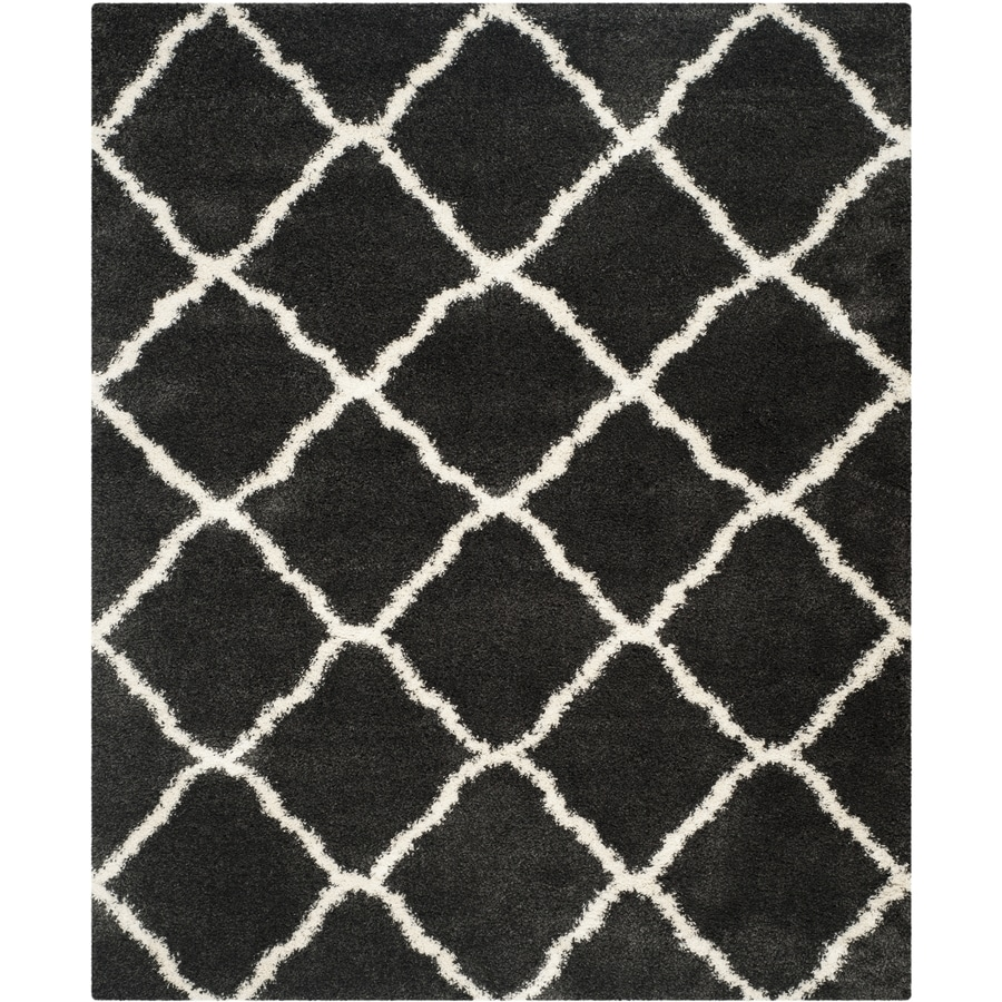 Safavieh Belize Denby Shag Charcoal/Ivory Rectangular Indoor Machine-made Moroccan Area Rug (Common: 8 x 10; Actual: 8-ft W x 10-ft L)