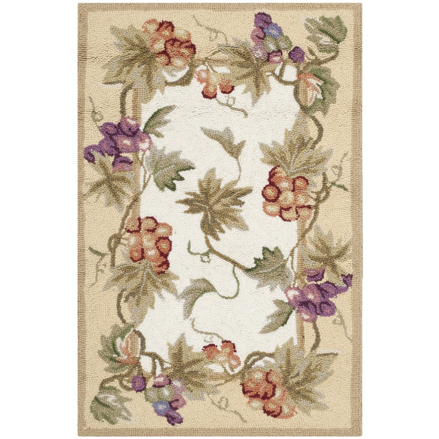 Safavieh Chelsea Florist Ivory Rectangular Indoor Handcrafted Lodge Throw Rug (Common: 2 x 4; Actual: 2.5-ft W x 4-ft L)