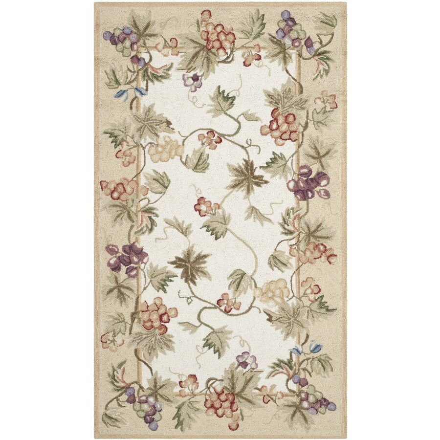 Safavieh Chelsea Florist Ivory Indoor Handcrafted Lodge Throw Rug (Common: 3 x 5; Actual: 2.75-ft W x 4.75-ft L)
