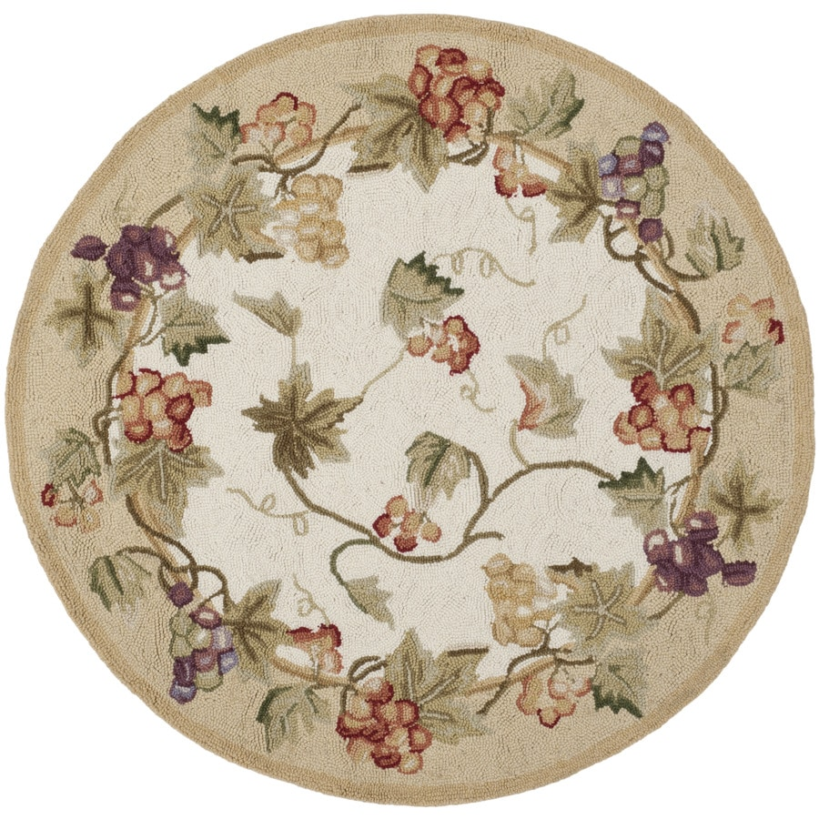 Safavieh Chelsea Florist Ivory Round Indoor Handcrafted Lodge Throw Rug (Common: 3 x 3; Actual: 3-ft W x 3-ft L x 3-ft dia)