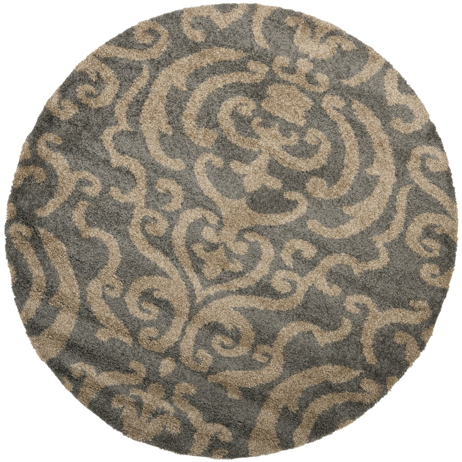 Safavieh Rania Shag Gray/Beige Round Indoor Tropical Area Rug (Common: 4 x 4; Actual: 4-ft W x 4-ft L x 4-ft dia)