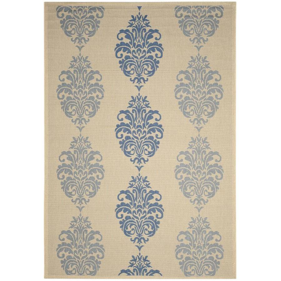 Safavieh Courtyard Natural/Blue Rectangular Indoor/Outdoor Machine-Made Coastal Area Rug (Common: 6 x 9; Actual: 6.58-ft W x 9.5-ft L x 0-ft Dia)