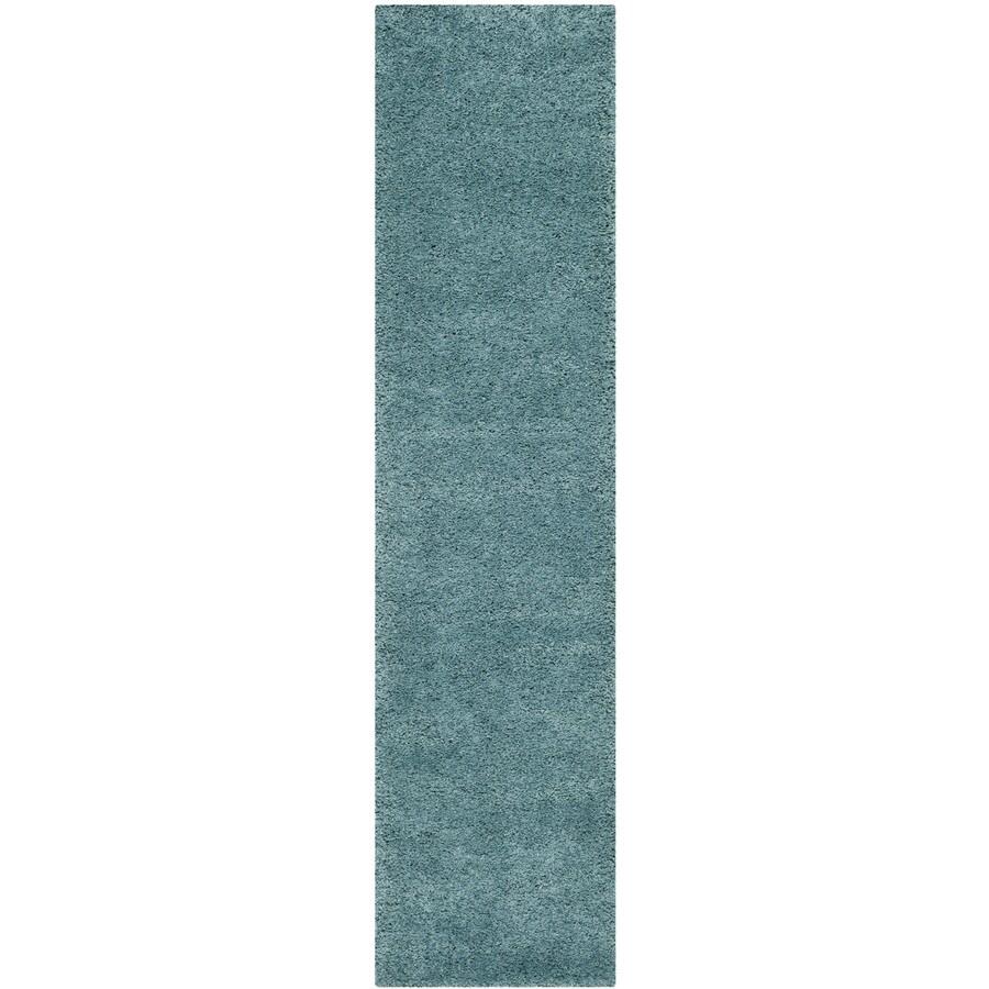 Safavieh Milan Shag Aqua Blue Rectangular Indoor Runner (Common: 2 x 10; Actual: 2-ft W x 10-ft L)