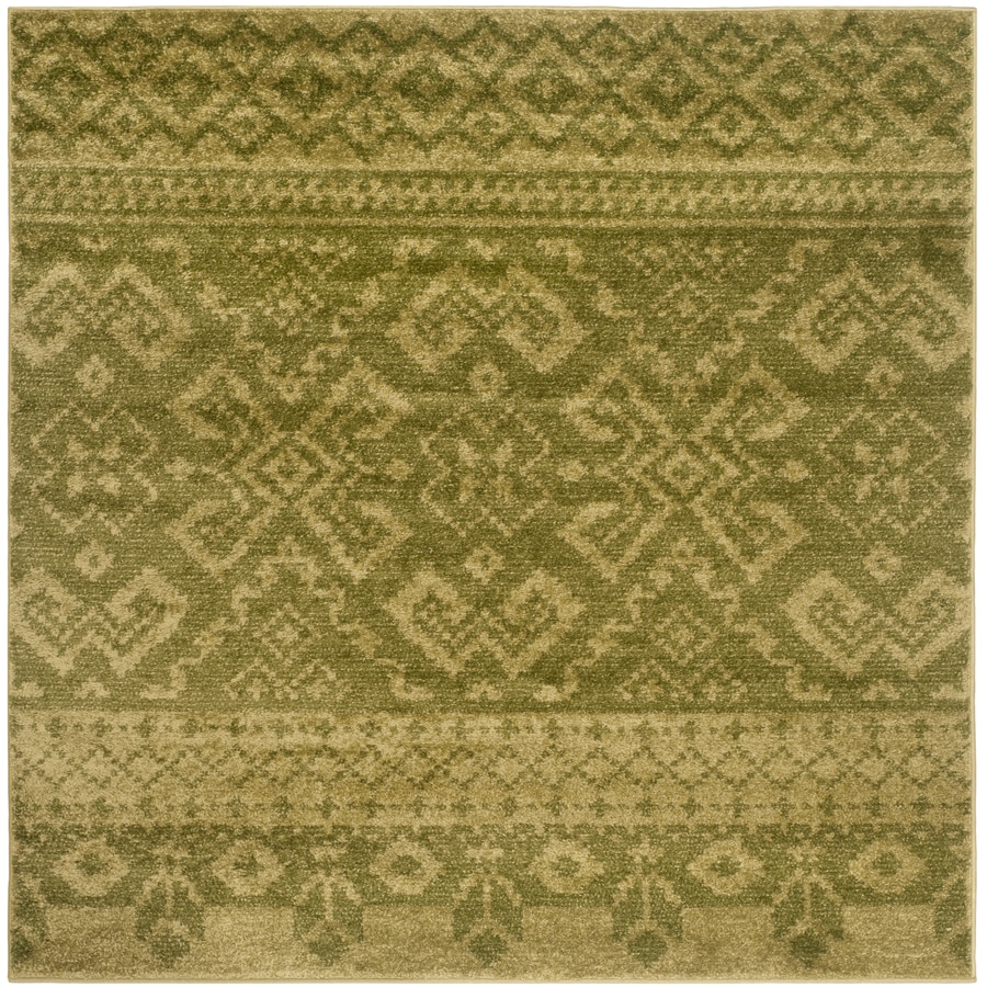 Safavieh Adirondack Green/Dark Green Square Indoor Machine-Made Lodge Area Rug (Common: 6 x 6; Actual: 6-ft W x 6-ft L x 0-ft Dia)
