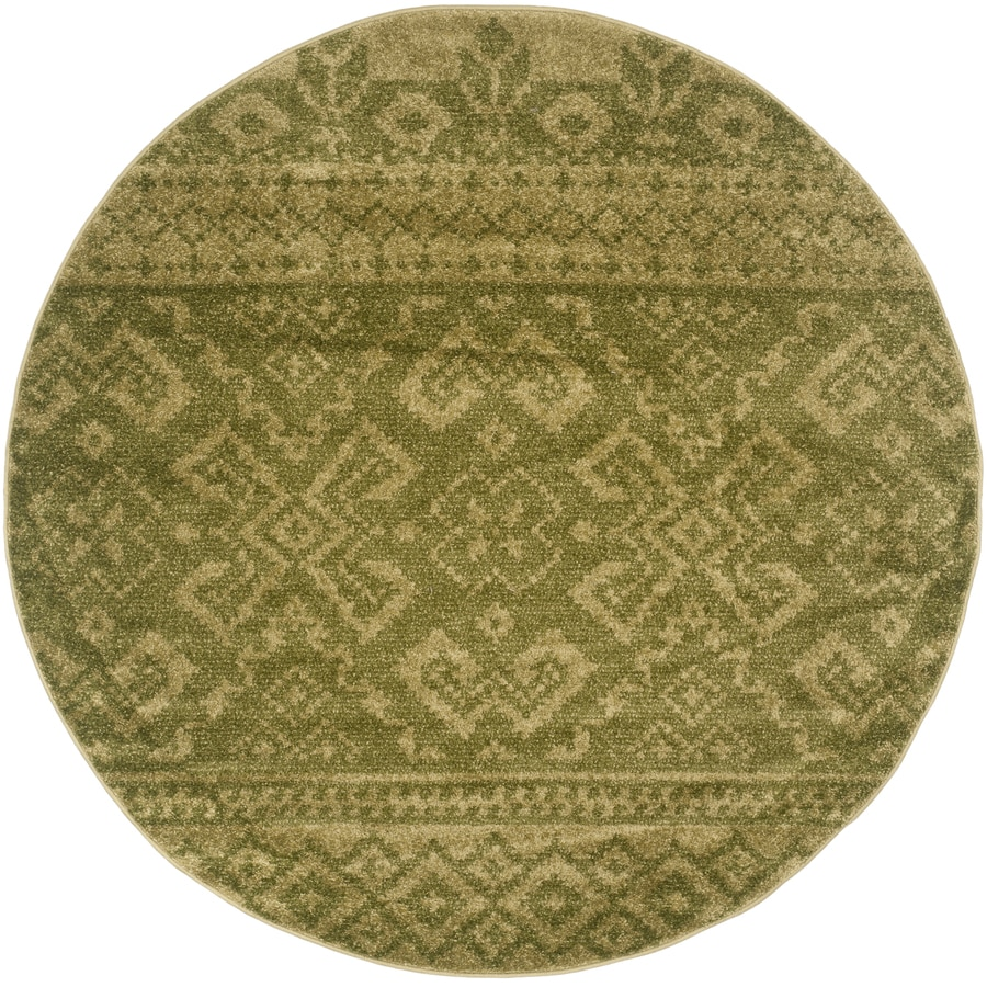 Safavieh Adirondack Taos Green/Dark Green Round Indoor Lodge Area Rug (Common: 8 x 8; Actual: 8-ft W x 8-ft L x 8-ft dia)