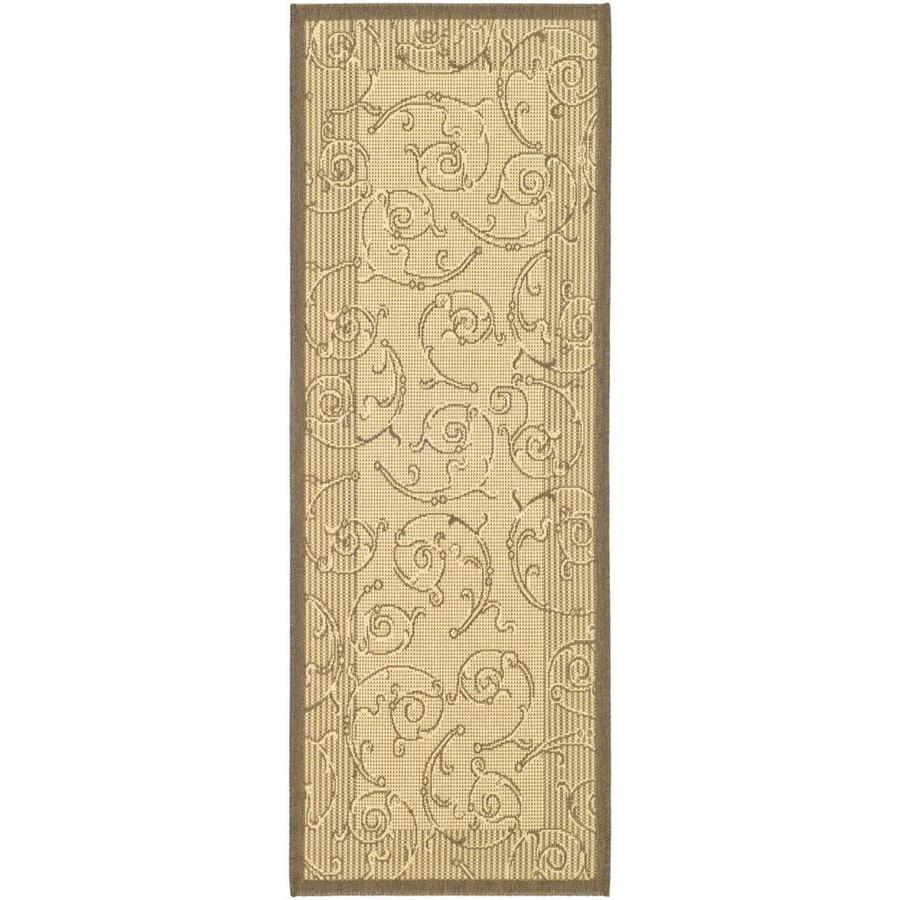 Safavieh Courtyard Natural/Brown Rectangular Indoor/Outdoor Machine-Made Coastal Runner (Common: 2 x 6; Actual: 2.25-ft W x 6.5833-ft L)