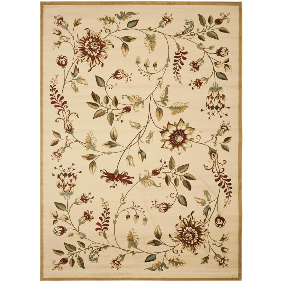 Safavieh Lyndhurst Floral Swirl Ivory/Multi Rectangular Indoor Machine-made Nature Area Rug (Common: 8 x 11; Actual: 8-ft W x 11-ft L)