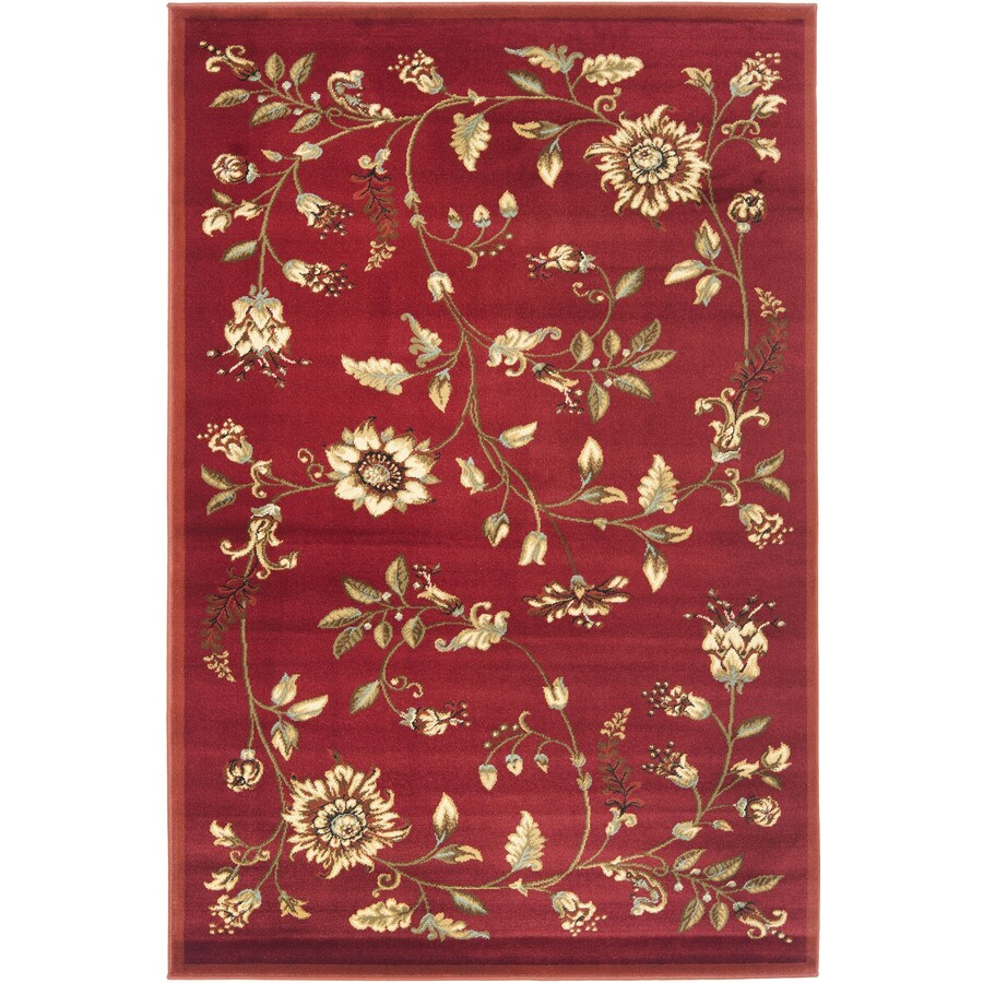 Safavieh Lyndhurst Floral Swirl Red Indoor Nature Area Rug (Common: 4 x 6; Actual: 4-ft W x 6-ft L)