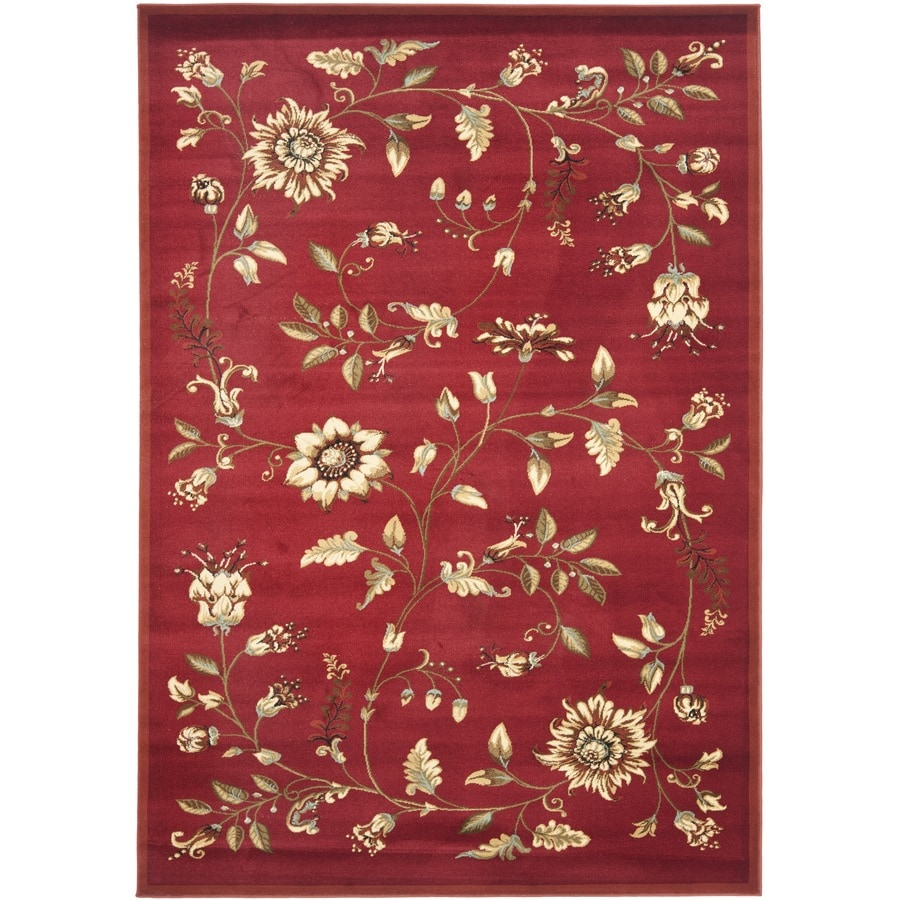 Safavieh Lyndhurst Floral Swirl Red Indoor Nature Area Rug (Common: 5 x 8; Actual: 5.25-ft W x 7.5-ft L)