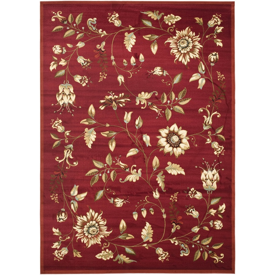 Safavieh Lyndhurst Floral Swirl Red Indoor Nature Area Rug (Common: 9 x 12; Actual: 8.75-ft W x 12-ft L)