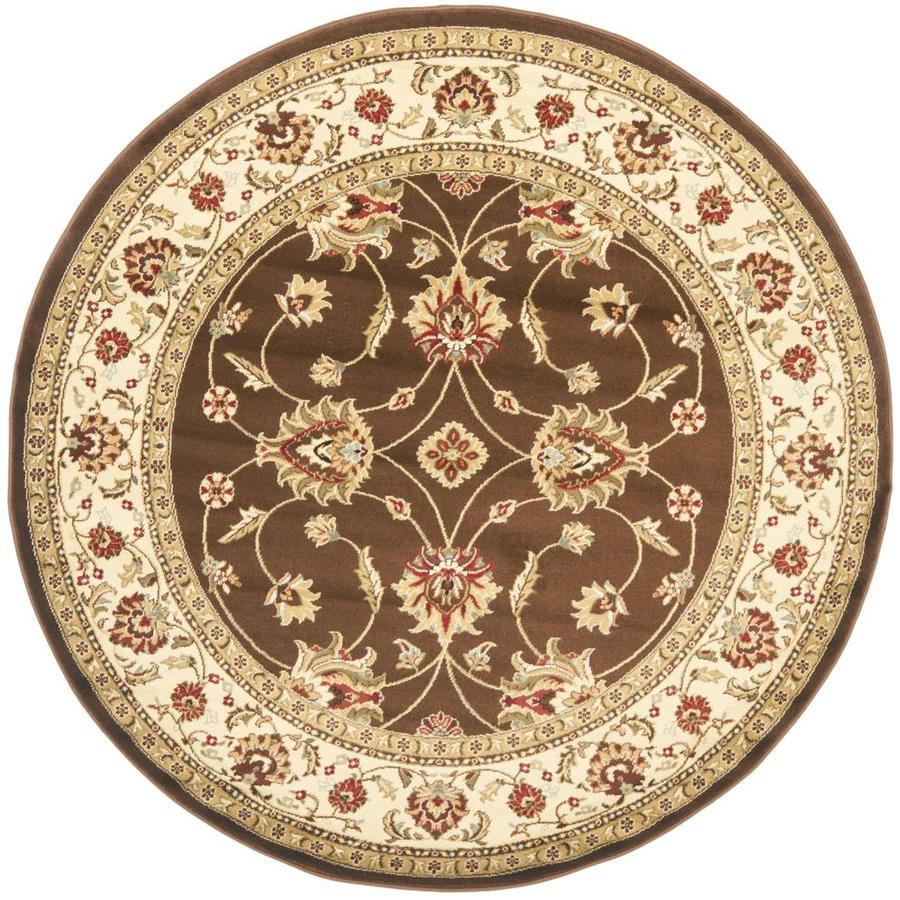 Safavieh Lyndhurst Agra Brown/Ivory Round Indoor Machine-made Oriental Area Rug (Common: 5 x 5; Actual: 5.25-ft W x 5.25-ft L x 5.25-ft Dia)