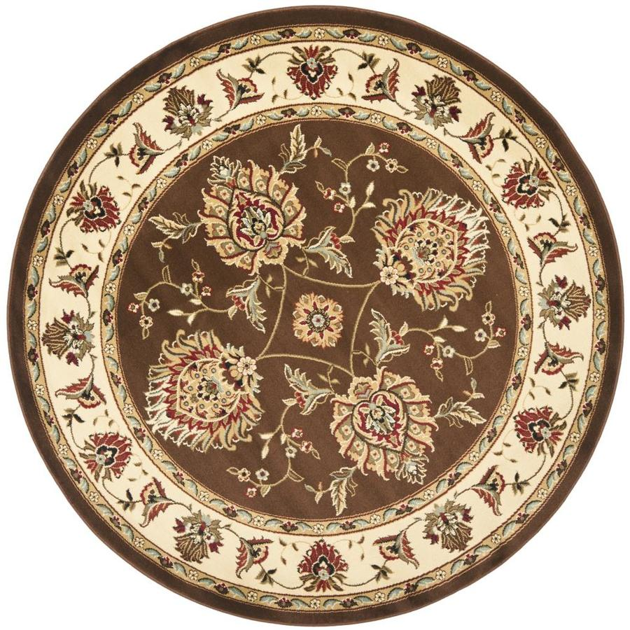Safavieh Lyndhurst Sultanabad Brown/Ivory Round Indoor Machine-made Oriental Area Rug (Common: 5 x 5; Actual: 5.25-ft W x 5.25-ft L x 5.25-ft Dia)