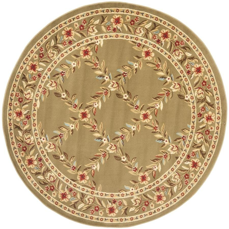 Safavieh Lyndhurst Open Floral Green/Green Round Indoor Machine-made Oriental Area Rug (Common: 5 x 5; Actual: 5.25-ft W x 5.25-ft L x 5.25-ft Dia)