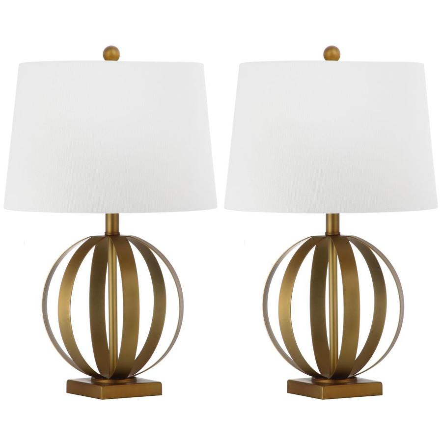 Safavieh Euginia 25-in Gold Rotary Socket Table Lamp with Fabric Shade (Set of 2)